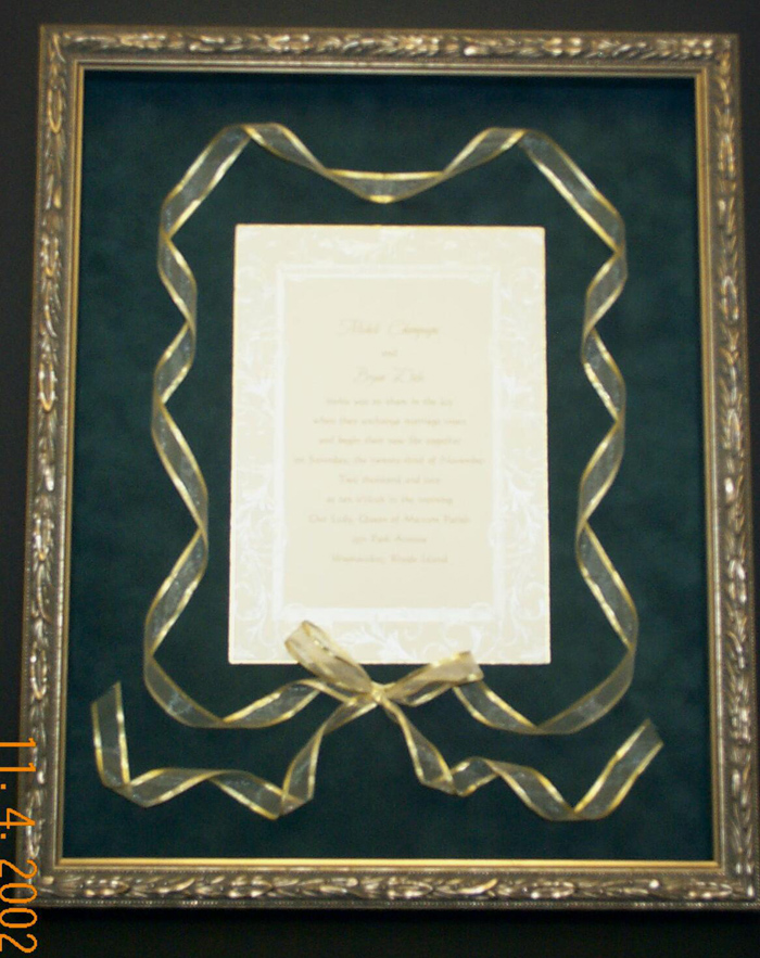 Custom Framed Wedding Invitations - unique wedding framing gift idea